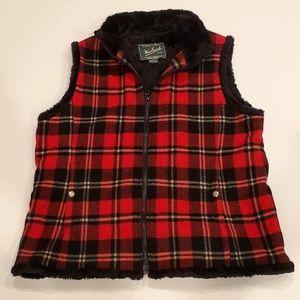Red Plaid Womens Woolrich Fleece Lined Wool Vest